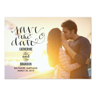 Funky Writing Save The Date - Wood 5x7 Paper Invitation Card