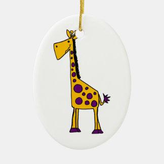 Funky Yellow and Purple Giraffe Cartoon Christmas Tree Ornaments