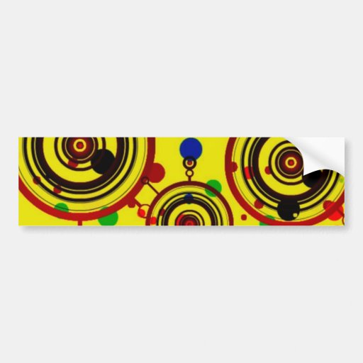 Funky Yellow and Red Circles Pattern Art Bumper Sticker