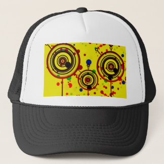 Funky Yellow and Red Circles Pattern Art Trucker Hat
