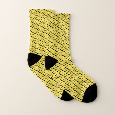 Professional Business Funky Yellow Black Musical Notes Pattern Socks