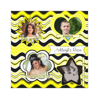 Funky Yellow, Black, White Photo Wall Hanging Stretched Canvas Prints