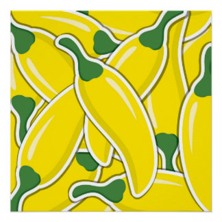 Funky yellow chilli peppers poster