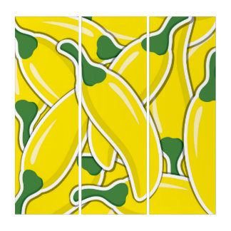 Funky yellow chilli peppers triptych