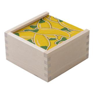 Funky yellow chilli peppers wooden keepsake box