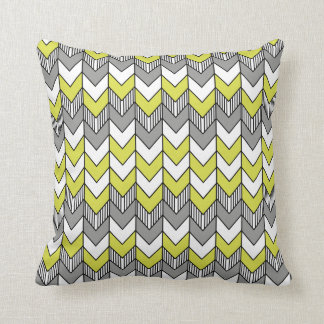 Funky Yellow, Gray and White Arrow Pattern Pillow