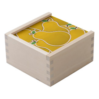 Funky yellow pear wooden keepsake box