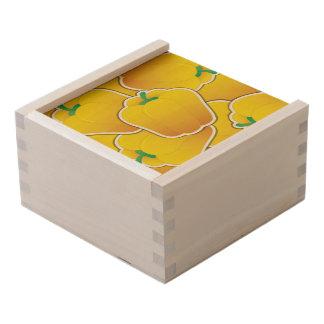 Funky yellow pepper wooden keepsake box