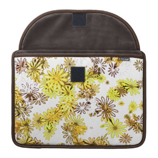 funky yellow retro 60's spring flowers power case sleeves for MacBook pro