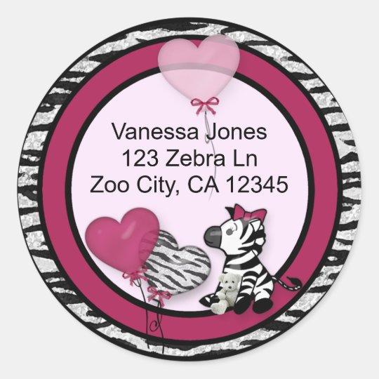 Funky Zebra Baby Shower Envelope labels seals