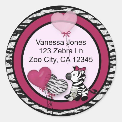 Funky Zebra Baby Shower Envelope labels seals Classic Round Sticker ...