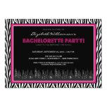 Funky Zebra Bachelorette Party Invitation (pink)