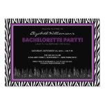 Funky Zebra Bachelorette Party Invitation (purple)