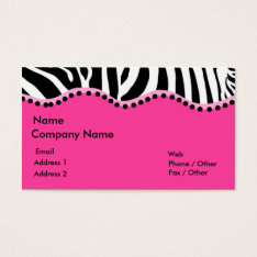 Funky Zebra Business Card at Zazzle