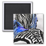 Funky Zebra (K.Turnbull Art) 2 Inch Square Magnet