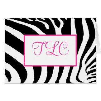 Funky Zebra Monogram Card