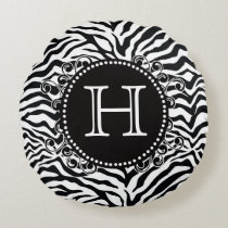 Funky Zebra Pattern Monogram Black and White Round Pillow