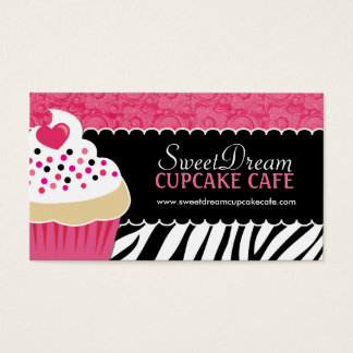 Funky  Zebra Print Cupcake Bakery Business Cards