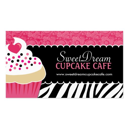 Funky  Zebra Print Cupcake Bakery Business Cards (front side)