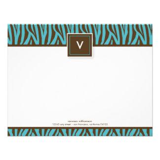 Funky Zebra Print Flat Note Cards (chocolate/aqua) Announcement