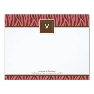 Funky Zebra Print Flat Note Cards (chocolate/pink) Personalized Invitation