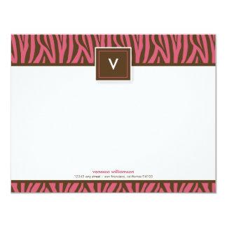 "Funky Zebra Print Flat Note Cards (chocolate/pink) 4.25"" X 5.5"" Invitation Card"