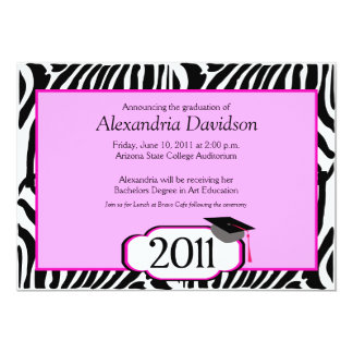 Funky Zebra Stripe 5x7 Graduation Announcement