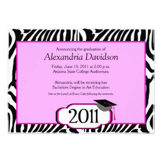 Funky Zebra Stripe 5x7 Graduation Announcement
