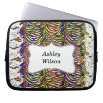 funky zebra stripes hot pink personalized computer sleeve