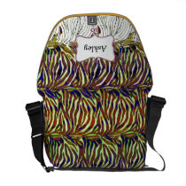 funky zebra stripes hot pink personalized messenger bag