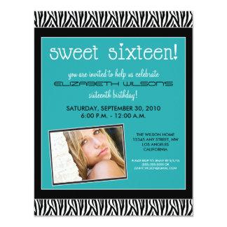 Funky Zebra Sweet 16 Birthday Party Invite (aqua)