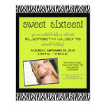 "Funky Zebra Sweet 16 Birthday Party Invite (lime) 4.25"" X 5.5"" Invitation Card"