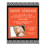 Funky Zebra Sweet 16 Birthday Party Invite: orange