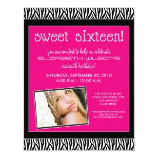 Funky Zebra Sweet 16 Birthday Party Invite (pink)