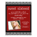 "Funky Zebra Sweet 16 Birthday Party Invite (red) 4.25"" X 5.5"" Invitation Card"