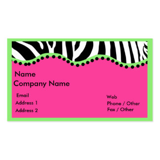 Funky Zebra With Green Boarder Business Card