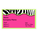 Funky Zebra With Neon Green Boarder Business Card Templates