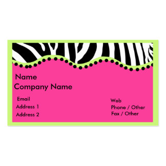 Funky Zebra With Neon Green Boarder Double-Sided Standard Business Cards (Pack Of 100)