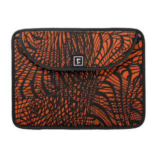 Funky Zen Tangle Orange and Black Pattern Sleeves For MacBook Pro