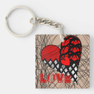 Funky Zen Tangle Red and Black Love Heart Design Keychain