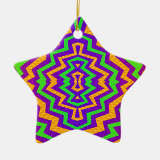 Funky Zig~Zag Double-Sided Star Ceramic Christmas Ornament