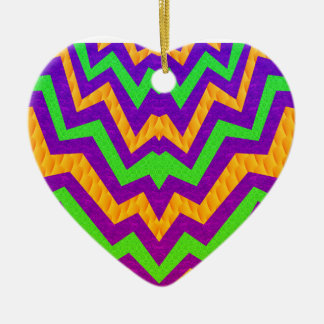 Funky Zig~Zag Double-Sided Heart Ceramic Christmas Ornament