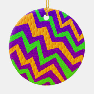 Funky Zig~Zag Double-Sided Ceramic Round Christmas Ornament