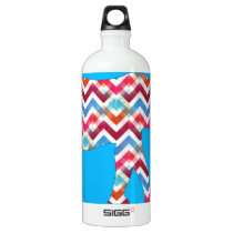 Funky Zigzag Chevron Elephant on Teal Blue Aluminum Water Bottle