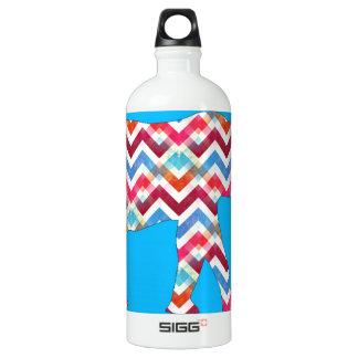 Funky Zigzag Chevron Elephant on Teal Blue Aluminum Water Bottle