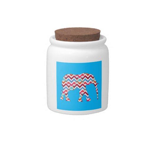 Funky Zigzag Chevron Elephant on Teal Blue Candy Jar