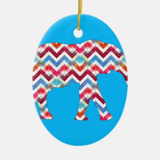 Funky Zigzag Chevron Elephant on Teal Blue Ceramic Ornament