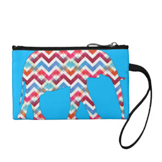 Funky Zigzag Chevron Elephant on Teal Blue Coin Wallet