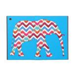 Funky Zigzag Chevron Elephant on Teal Blue iPad Mini Covers