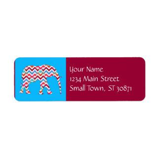 Funky Zigzag Chevron Elephant on Teal Blue Custom Return Address Label